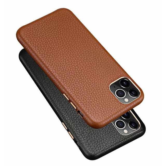 MYL LZP Lambskin Back Cover Case For iphone 12 11 Pro Max Genuine Leather Lichee Pattern Case For Apple iphone 12mini Phone case
