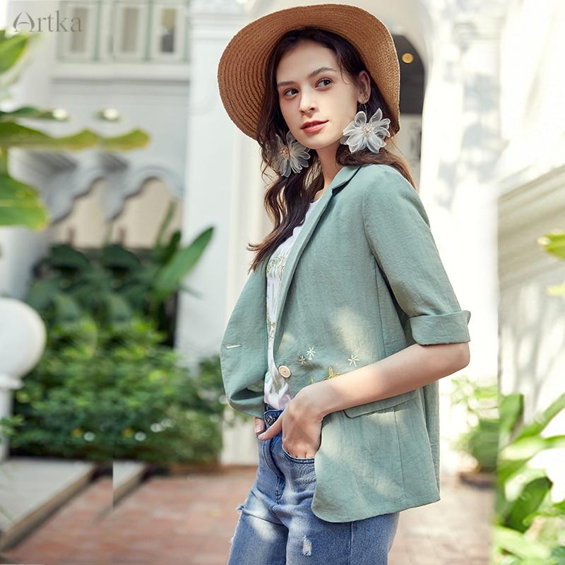 ARTKA 2020 Spring Summer New Women Blazers Fashion Embroidery Jacket Coat Casual OL Style Women Blazers And Jackets WA20207C