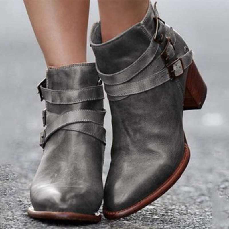 Heflashor Herfst Laarzen Vrouwen Mode Merk Lage Hak Schoenen Laarzen Suede Lederen Gesp Laars Hoge Hakken Rits Sneeuw Schoenen