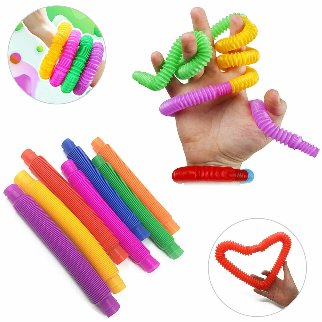 Colorful Fidget Pop Tube Toys for Kids Pipe Sensory Tools For Stress Relief Educational Folding Toy
