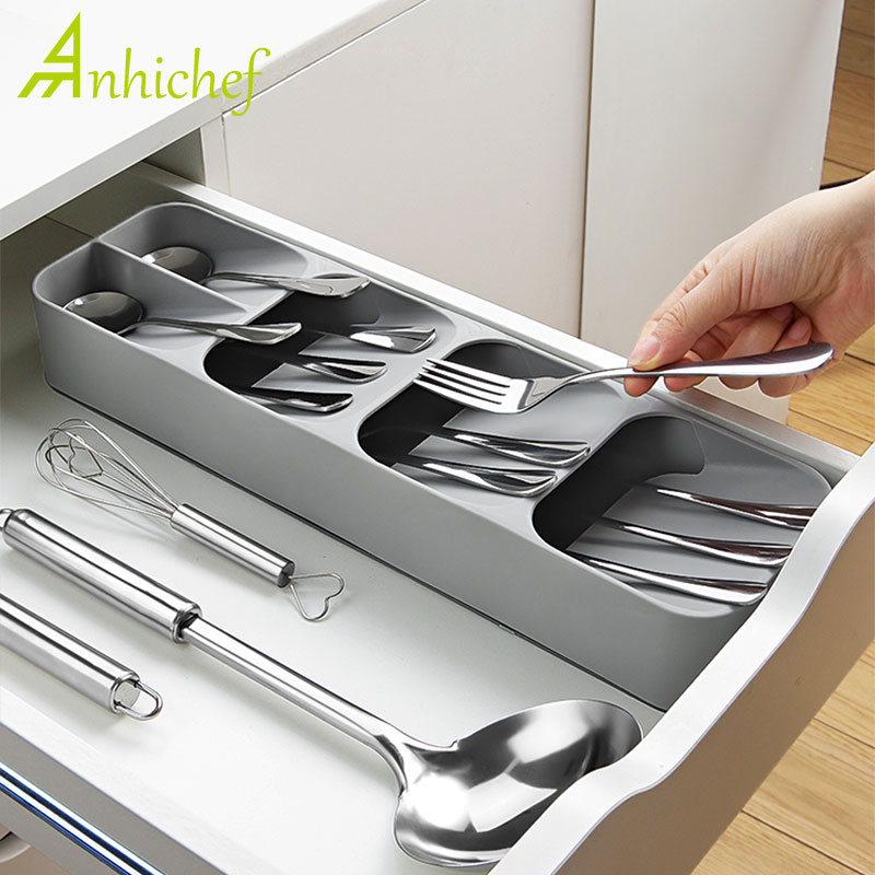 New Storage Tray Kitchen Drawer Organizer Kitchen Spoon Forks Cutlery Storage Separation Container Plastic Knife Block Holder
