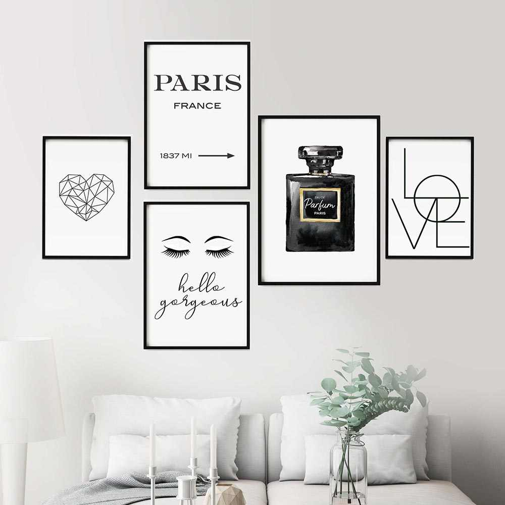 Black And White COCO Perfume Decor Makeup Wall Art Lashes Canvas