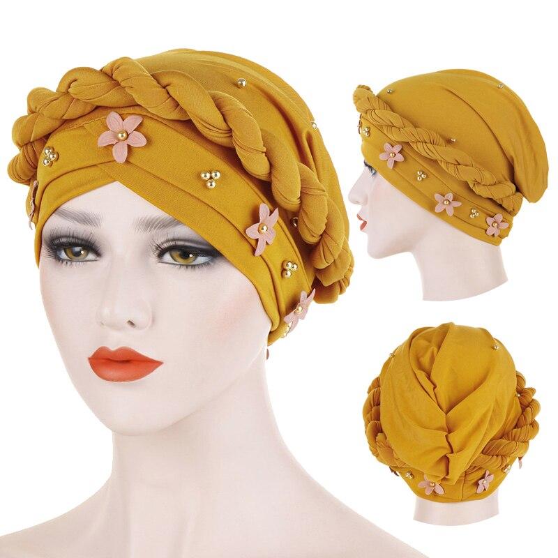 Gold Beads Women Head Scarf Twist Flowers Inner Hijabs Cap Solid Cotton Muslim Islamic Turban Bonnet Arab Wrap Hijab Accessories