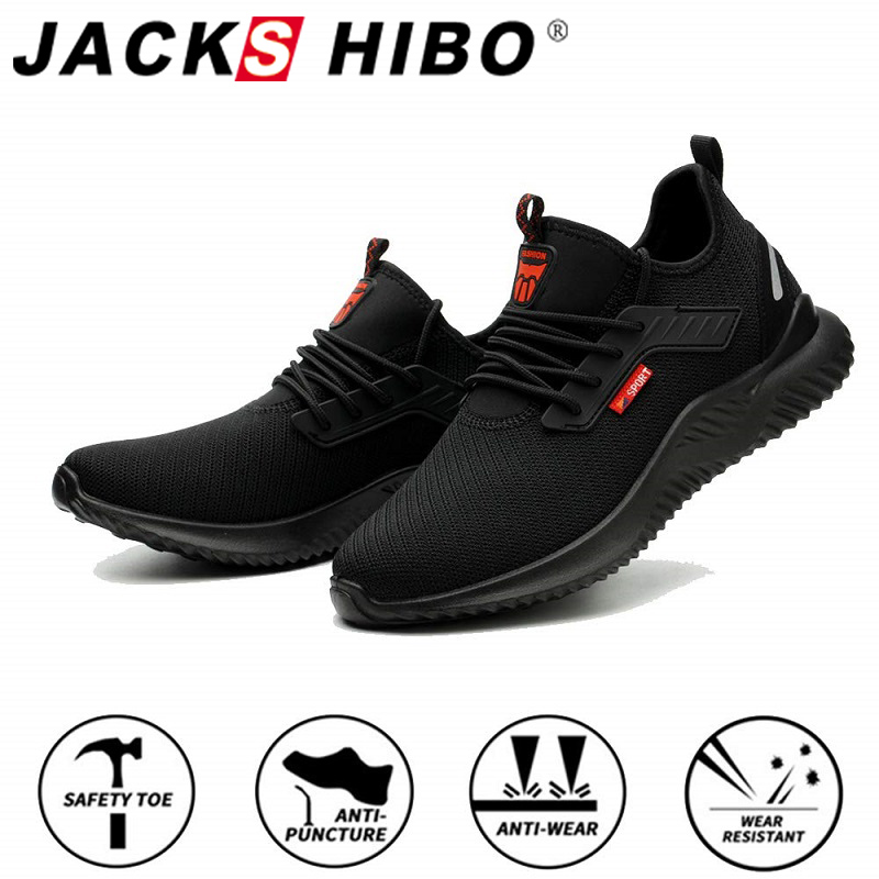 JACKSHIBO All Season Safety Work Shoes Boots For Men Anti-Smashing Steel Toe Cap Shoes Indestructible Safety Boots Work Sneakers