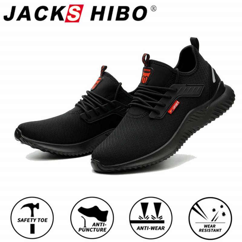 JACKSHIBO tüm sezon güvenlik iş ayakkabısı botları erkekler için Anti-Smashing çelik burun ayakkabı yıkılmaz güvenlik botları iş ayakkabıları