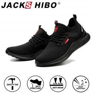 Image 1 - JACKSHIBO כל עונה בטיחות לעבוד נעלי מגפי גברים אנטי לנפץ פלדת כובע הבוהן נעלי בלתי ניתן להריסה בטיחות מגפי עבודה סניקרס