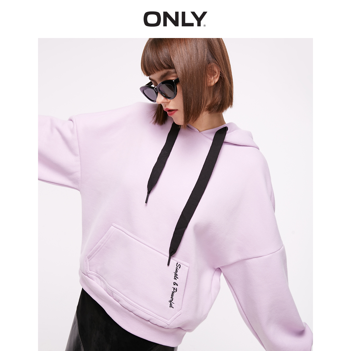 ONLY 2019 Autumn Winter Women's Loose Fit Letter Print Brushed Sweatshirt | 11939S538