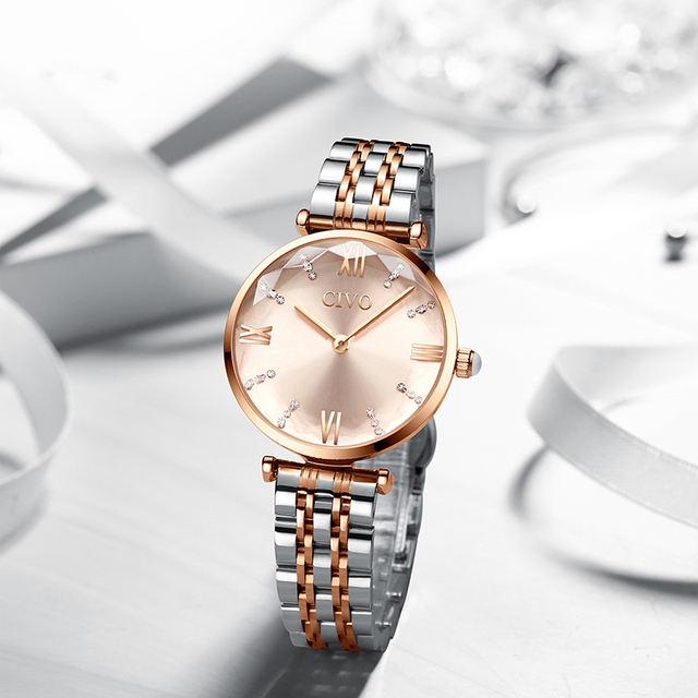 CIVO Luxury Crystal Watch Women Waterproof Rose Gold Steel Strap Ladies Wrist Watches Top Brand Bracelet Clock Relogio Feminino 3