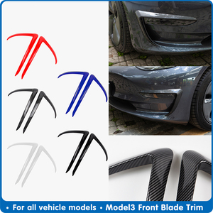 Front Blade Trim Car Styling Auto Accessories For Tesla Model 3 Accessories ABS Carbon Fibre Black For Tesla model3 2017-2020