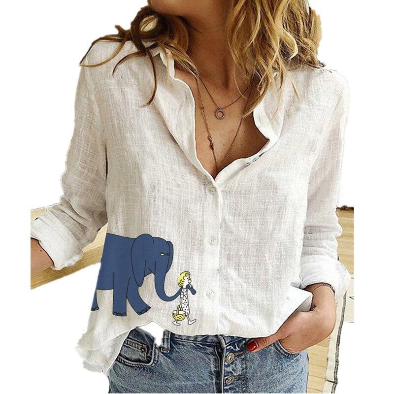Elegant Turn Down Collar Cotton Linen Women Shirts Long Sleeve Plus Size 5XL Casual Work Wear Blouses|Blouses & Shirts| - AliExpress