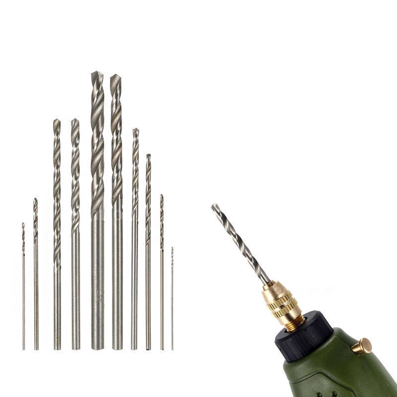 10Pcs HSS High Speed White Steel Twist Drill Bit Set For Dremel Rotary Tool New