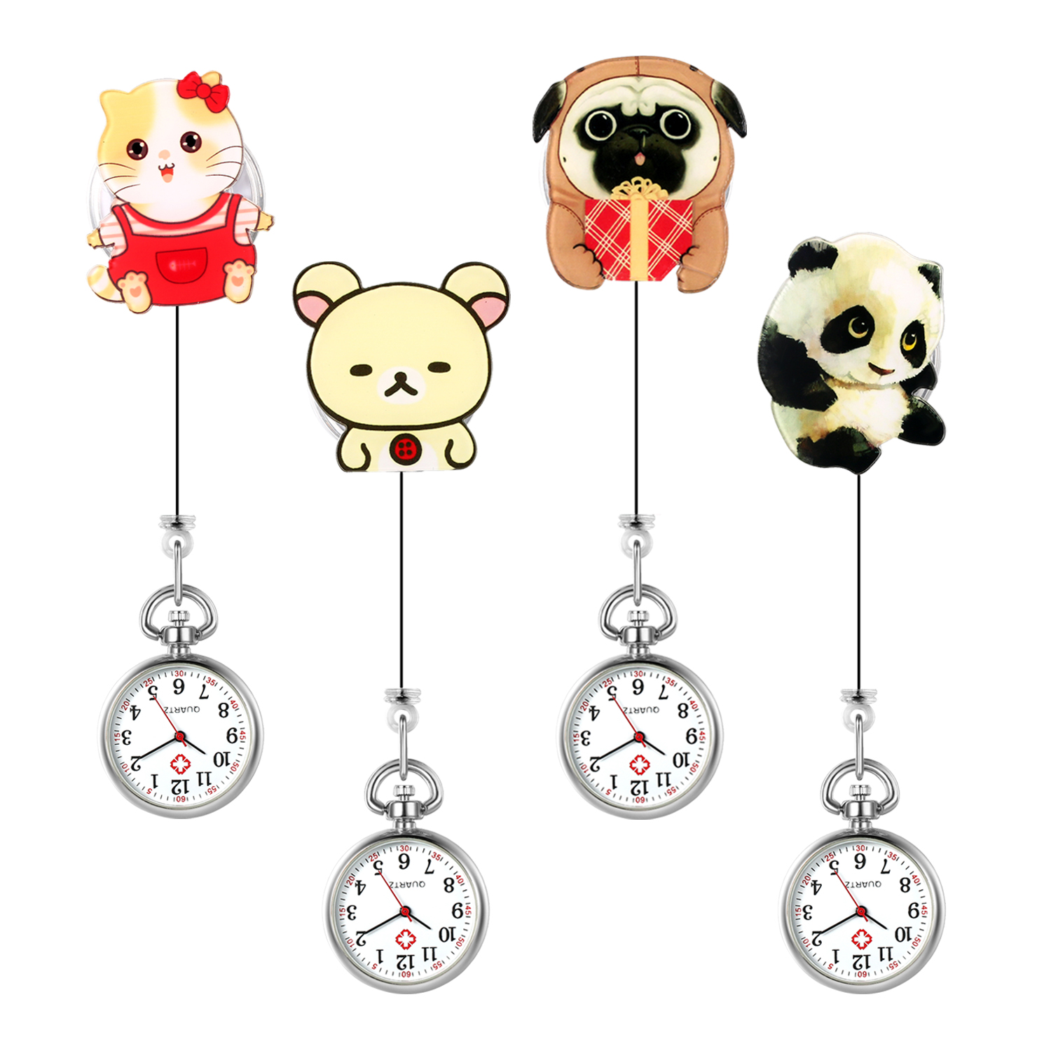 LANCARDO Fashion Lovely Cartoon Animal Design Soft Rubber Nurse Pocket Watches Ladies Women Doctor Medical Watches