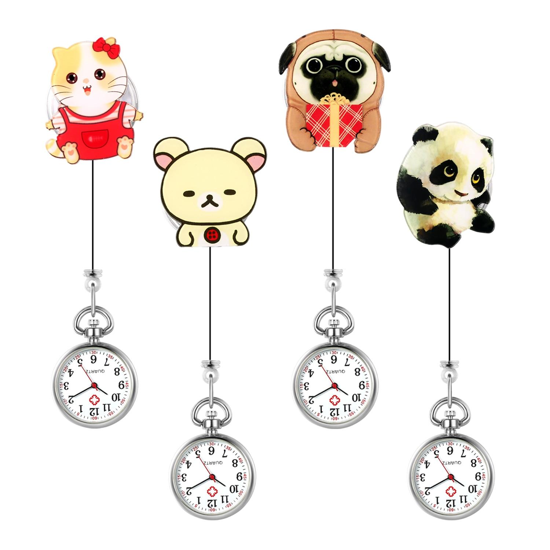 LANCARDO Fashion Lovely Cartoon Animal Design Soft Rubber Nurse Pocket Watches Ladies Women Doctor Medical Watches