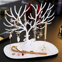 Qingwen олень кольцо для серьг и ожерелья ювелирные браслеты и кулоны Дисплей подставка, лоток дерево хранения Органайзер-держатель ювелирных