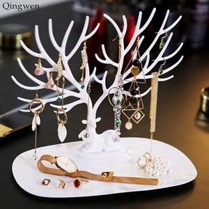 Qingwen Deer Earrings Necklace Ring Pendant Bracelet Jewelry Display Stand Tray Tree Storage jewelry Organizer Holder CE0560(China)