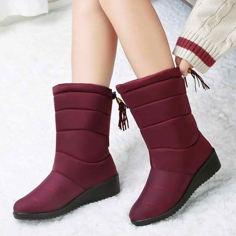עמיד למים חורף מגפי נקבה למטה מגפי נשים סיבתי נעלי גבירותיי שלג הנעל טריז גומי קטיפה מדרסים Botines Mujer 2019