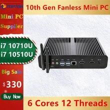 "Topton Neue Fanless Mini PC Intel i7 10710U 10510U Desktop Computer Windows 10 DDR4 M.2 NVMe + Msata + 2.5 ""SATA 4K HTPC Nettop HDMI"