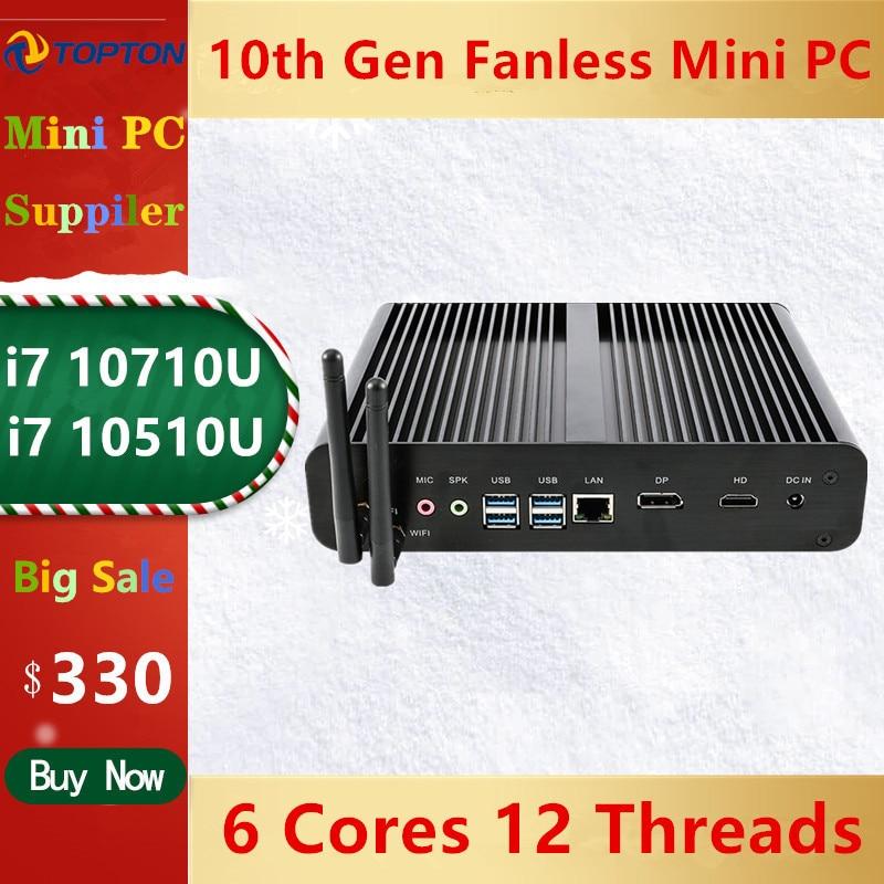 Topton Новый безвентиляторный мини-ПК Intel i7 10710U 10510U настольный компьютер Windows 10 DDR4 M.2 NVMe + Msata + 2,5 ''SATA 4K HTPC неттоп HDMI