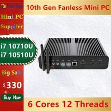 Topton novo fanless mini pc intel i7 10710u 10510u desktop computador windows 10 ddr4 m.2 nvme + msata + 2.5 sata sata 4k htpc nettop hdmi