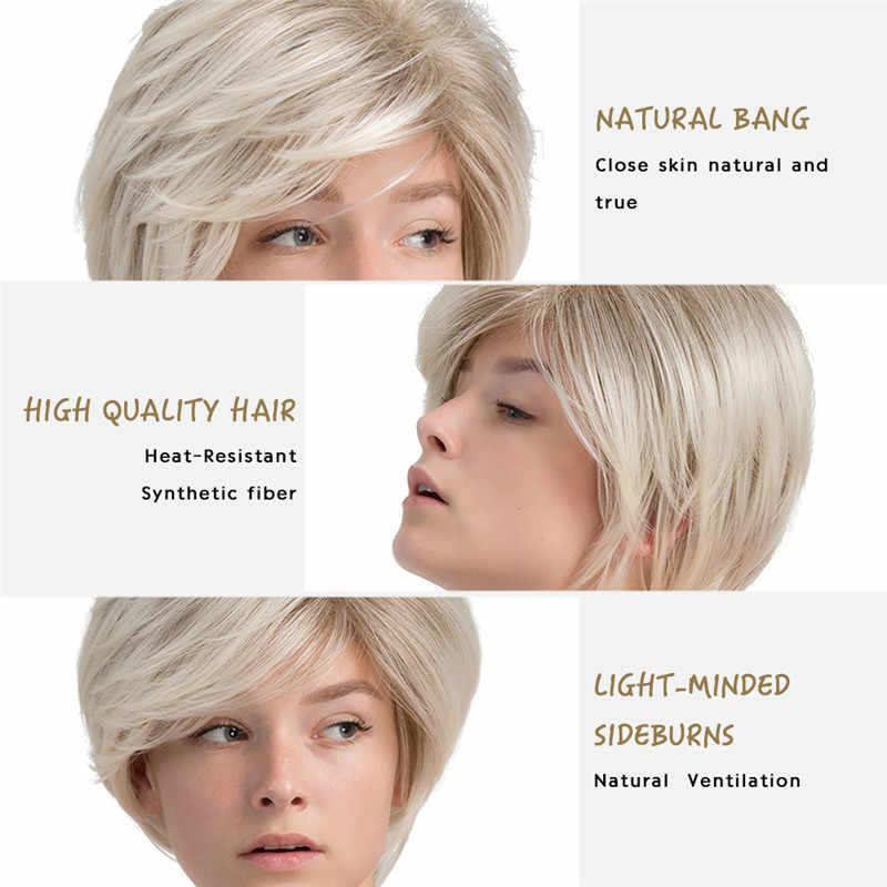 Inhaircube krótkie włosy peruka z naturalnych grzywka fryzura Pixie z pasemkami syntetyczne krótkie prosto fryzura dla białych kobiet
