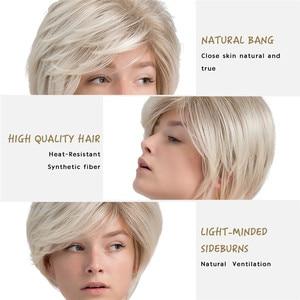 Image 5 - Inhaircube קצר שיער פאה עם פוני טבעי פיקסי לחתוך עם הבהרה סינטטי קצר ישר תספורת לבן נשים
