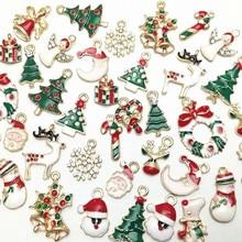 Микс рождественские эмалированные Подвески для изготовления ювелирных изделий металлические подвески бусины для шарма браслет серьги ювелирные украшения подарки