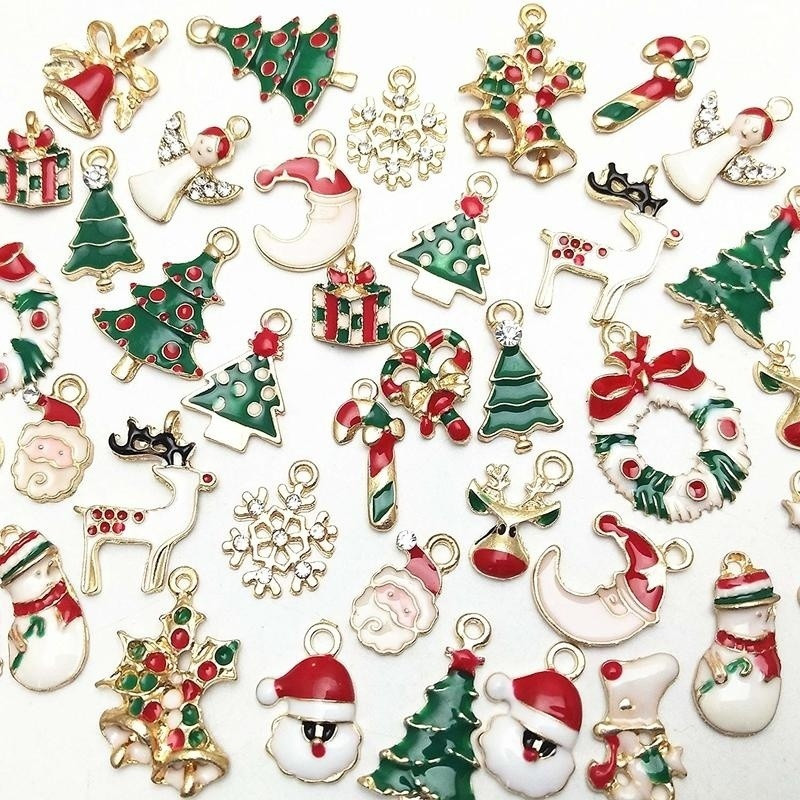 Mix Christmas Enamel Charms for Jewelry Making Metal Pendants Beads for Charm Bracelet Earrings jewelry Decorations Gifts