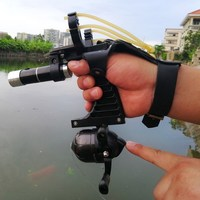 Fishing Set Slingshot Hunting Catapult Suit Outdoor Shooting Fishing Reel+Dart+Left Handguard+Rubber Tube Flashlight