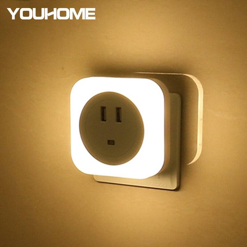 USB Charger LED Night Light With Dual USB Port For IPhone Wall EU/US Plug Light Sensor Control Automatic Night Lamp Luminaria