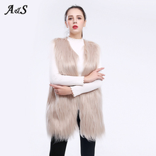Long Faux Fur Vest Coat Autumn Winter Warm Jacket Oversize Outerwear Ladies Female Soft Fluffy jacket Women