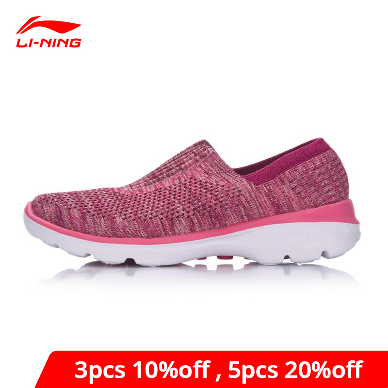 Li-Ning Women's Easy Walker Lifestyle Shoes Textile Breathable Sneakers Light Fitness LiNing Li Ning Sport Shoes AGCM112 YXB048