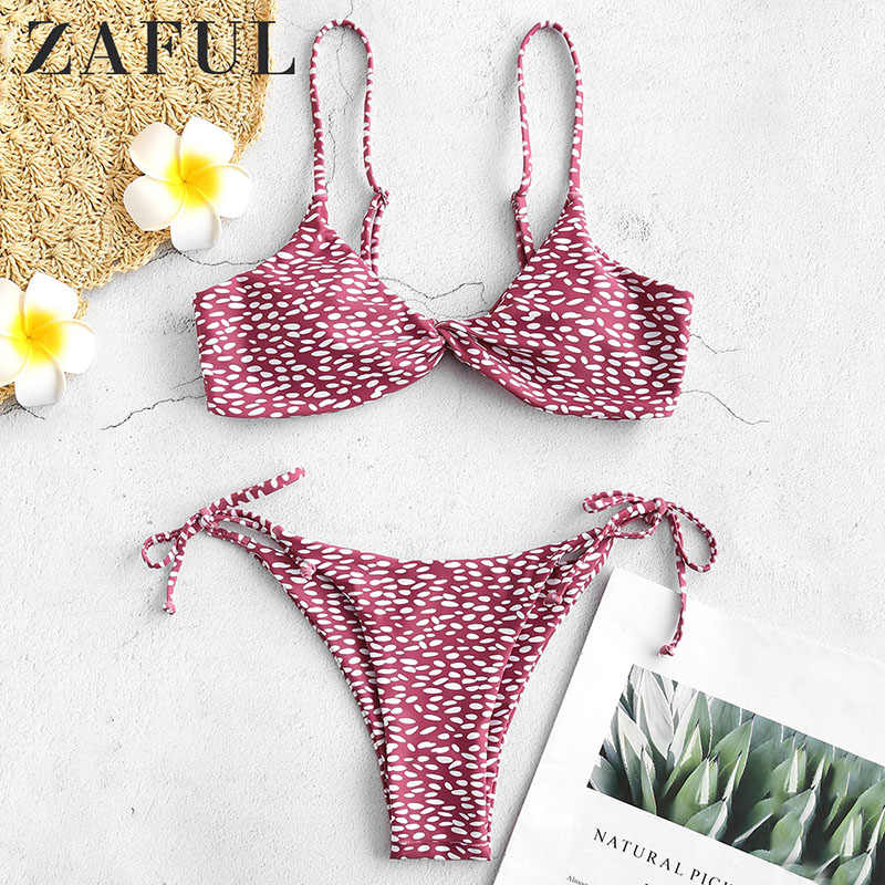 ZAFUL 2019 Polka Dot Thong Bikini Twist Front Spotted String Bikini Swimwear Women Swimsuit Female Bathing Suit Push Up Bikini