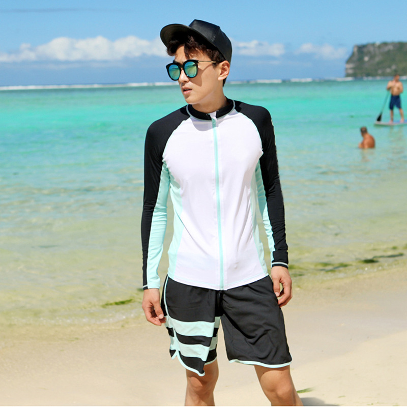 South Korea Men Long Sleeve Shorts Beach Bathing Suit Surfing Running Man Swimwear Beach Clothing Quick-Dry Diving Suit Jellyfis