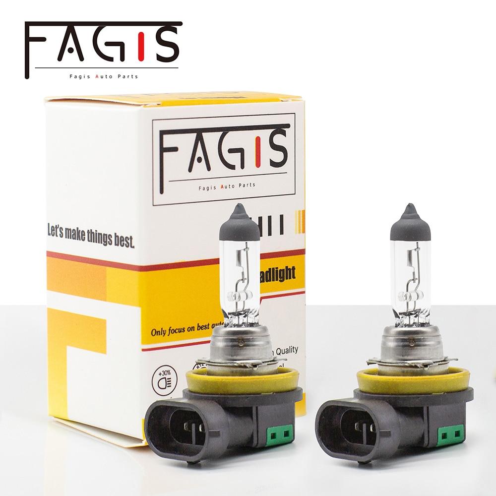 Fagis 2Pcs H11 55W 12V White Auto Halogen Bulbs Fog Lights High Power Car Clear Headlights Lamp Car