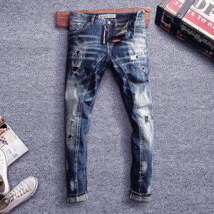 Image 4 - Pantalones vaqueros de estilo italiano para hombre, Vaqueros ajustados con empalme de diseño, rasgados, estilo Hip Hop, ropa de calle, vaqueros de motorista, 2020