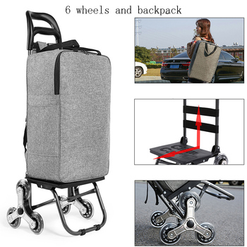 For elderly Upstair shopping cart trolley large item trolley case folding trailer trolley household portable women shopping bags 1