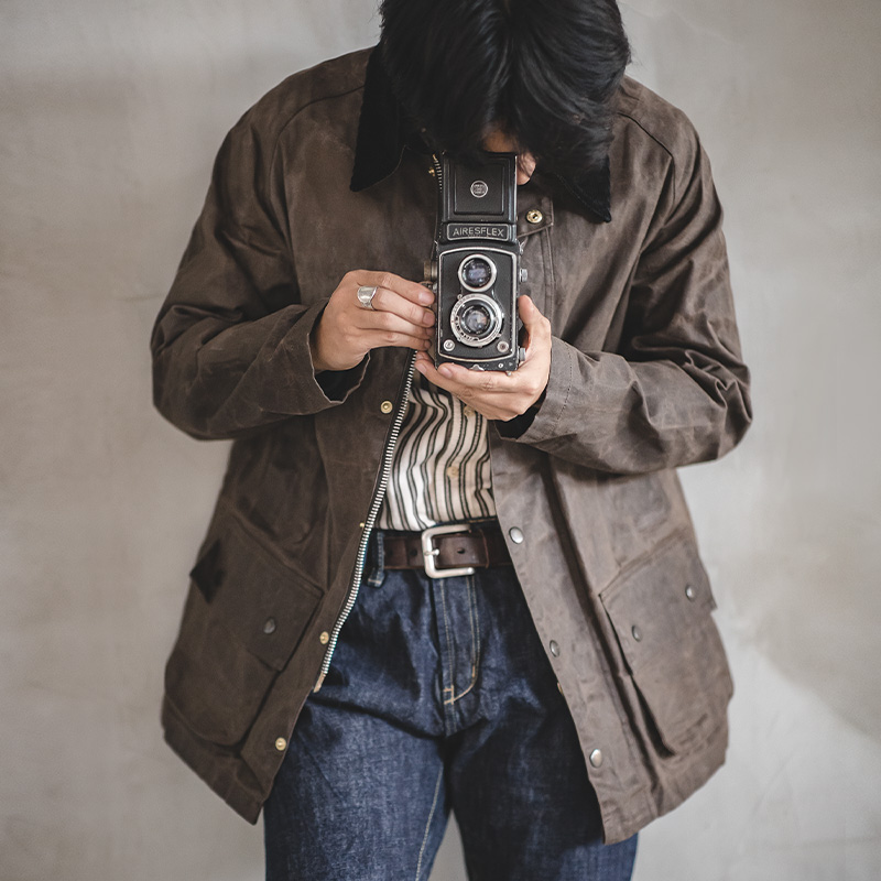 Men's Vintage Lined Waxed Canvas Corduroy Lapels waterproof and windproof Jacket For Autumn And Winter Waxed Motorcycle Jacket
