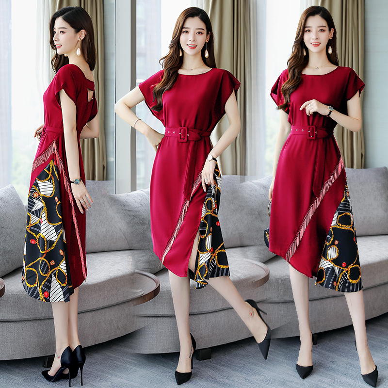 Elegant Dress Summer Wear For Women 2019 New Style By Age-Style Medium-length Dress Joint Irregular Slimming Business Skirt