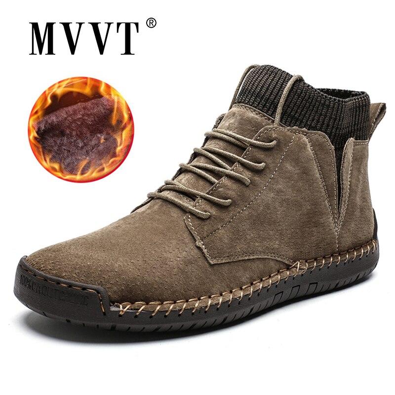Cow Suede Leather Men Boots Fashion Warm Winter Snow Boots Waterproof Winter Shoes Leather Men Ankle Boots Fur Men Shoes