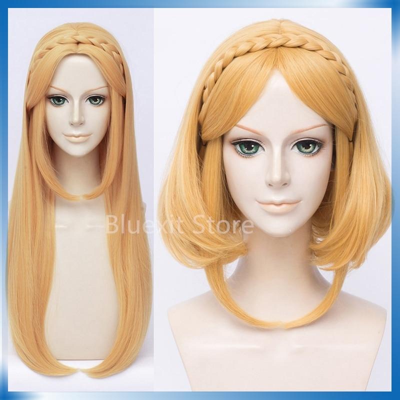 Breath Of The Wild Princess Zelda Cosplay Wig Braids The Legend Of Zelda Long Short Gold Straight Braided Hair Halloween