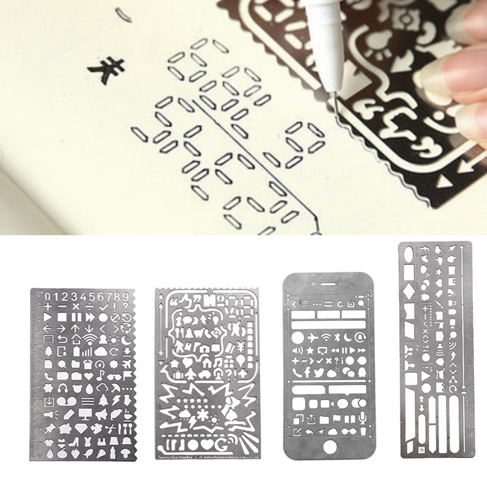 4PCS Portable Stainless Steel Multi Functional Drawing Template Ruler Stencil For Agenda Planner Journal Scrapbook Schedule Book