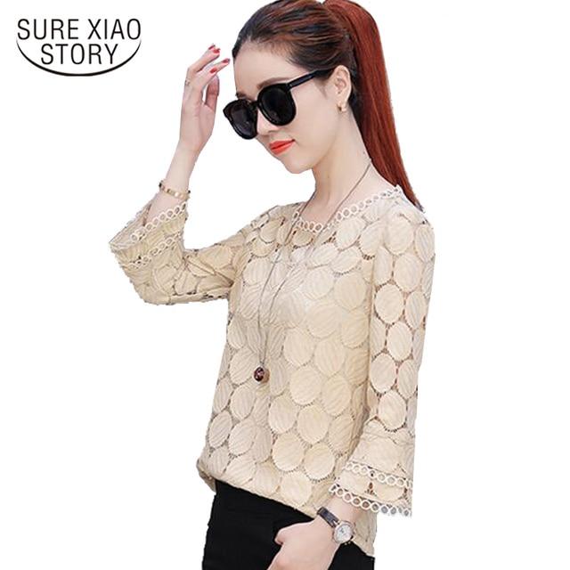 2019 autumn plus size lace flare sleeve women chiffon blouse shirt casual solid hollow women clothing top femlae blusas 905E 30 3