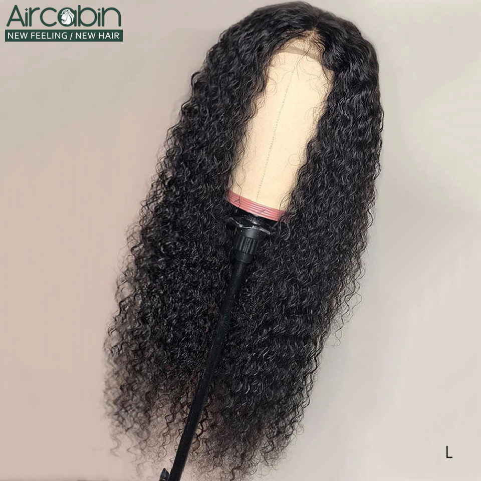 Aircabin 13x6 Lace Frontal Wigs Brazilian Curly Wave Human Hair Wigs 8-32 Inch 150 Density For Black Women Non-Remy Hair Wig