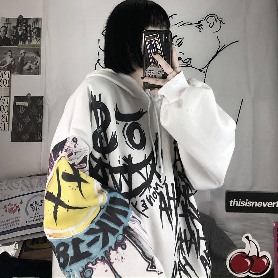 Casual Japan Cartoon Hip Hop Sweatshirts Women Spring Autumn Long Sleeve Oversize Punk Hoodies Femme Tops Sweatshirt Females