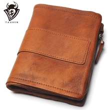 TAUREN nowy portfel damski portfele na monety męska portmonetka skórzany damski zamek błyskawiczny Design z kieszonkami na monety krótki Walet