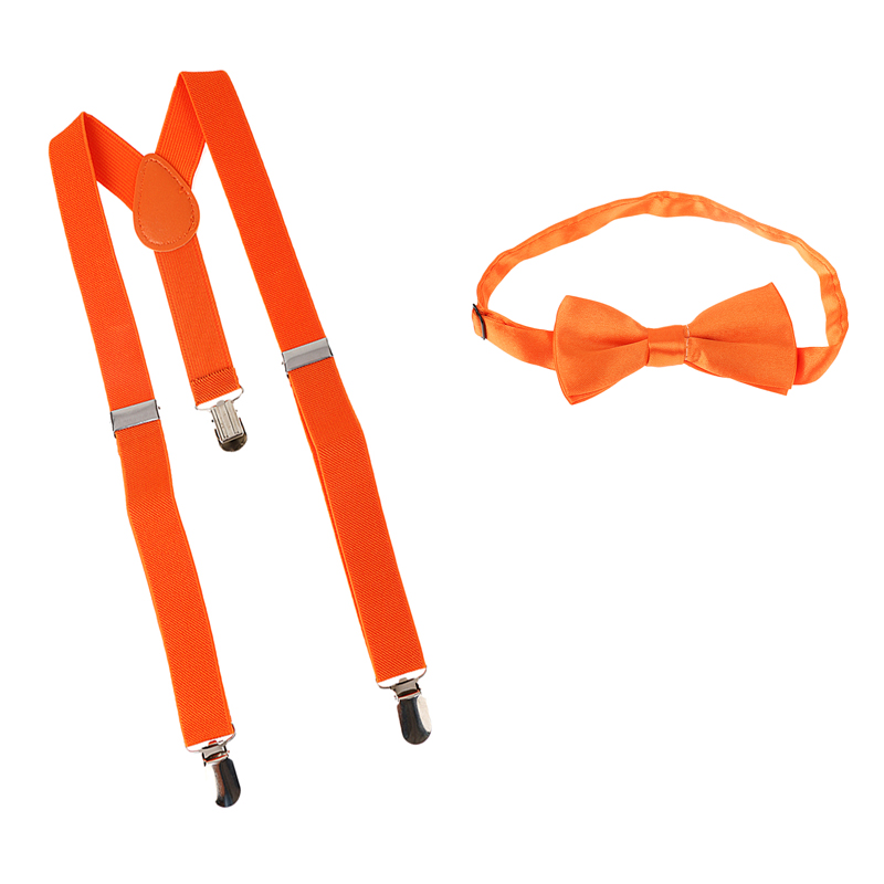 Child Tie + Strapless Y Adjustable With 3 Elastic Clips Solid Orange Fashion Brace Strap With Bowtie Set Boys Clothes Accessory