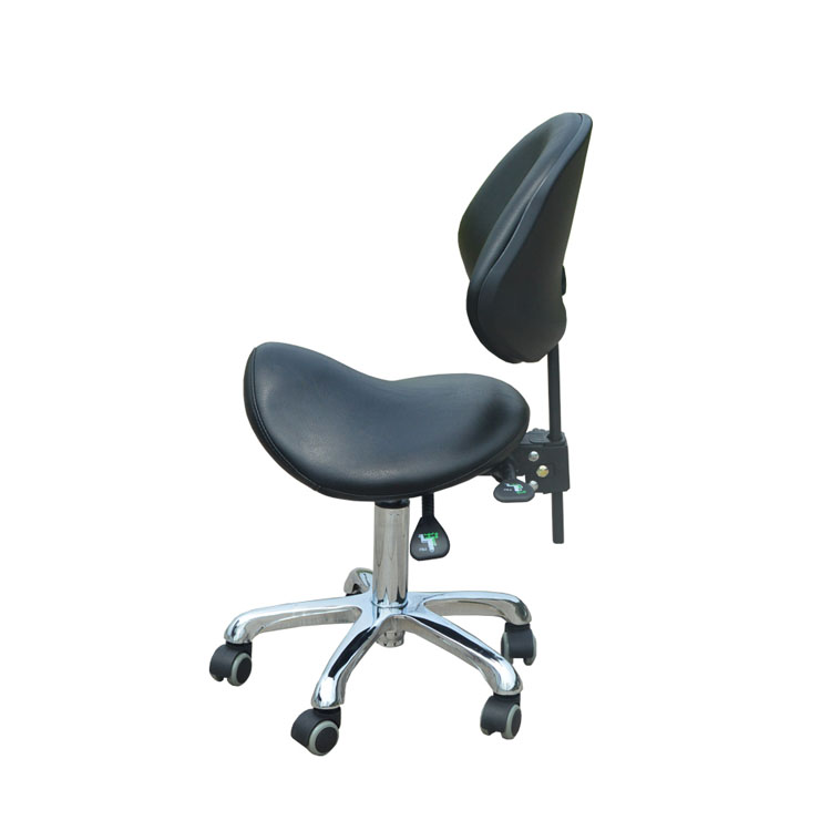 Standard Dental Mobile Chair Saddle Doctor's Stool PU Leather Dentist  Spa Rolling  With Back Support For Beauty