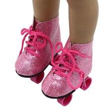 Стиль, Розовая кукла, ручная работа, обувь для катания на коньках, подходит для 43 см, одежда для новорожденных, кукла 18 дюймов, обувь для куклы, лучший подарок на день рождения для детей
