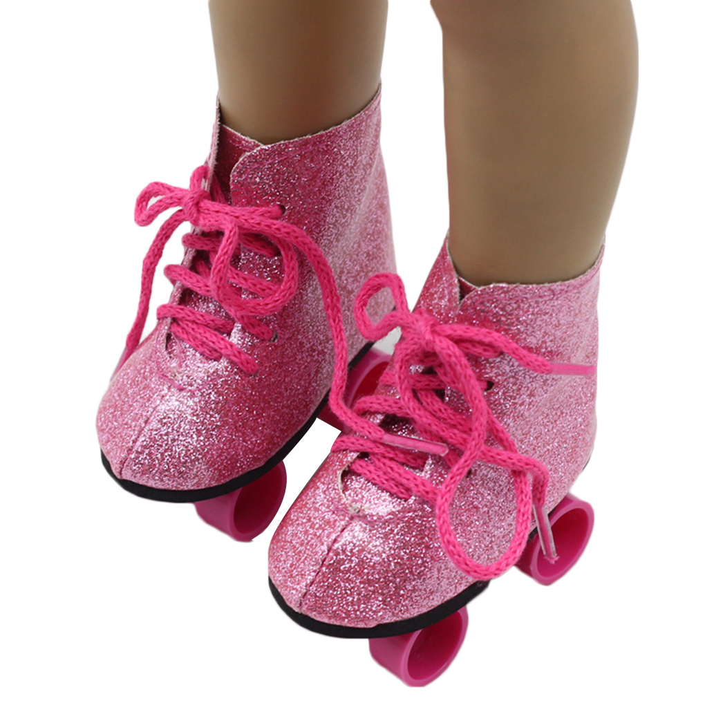 New Style Pink Doll Handmade Skate Shoes Fit 43cm Born Baby Doll Clothes 18 Inch Doll Shoes Children Best Birthday Gift