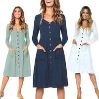 Red Blue A Line Casual Dresses Women Autumn Dress 2019 Vintage Long Sleeve Dress For Ladies Buttons V Neck Midi Vestidos Female